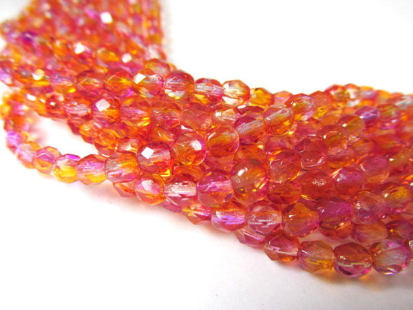 Fuchsia Cantaoupe Czech 4mm Fire Polished Beads (50)-Czech Glass-Odyssey Cache