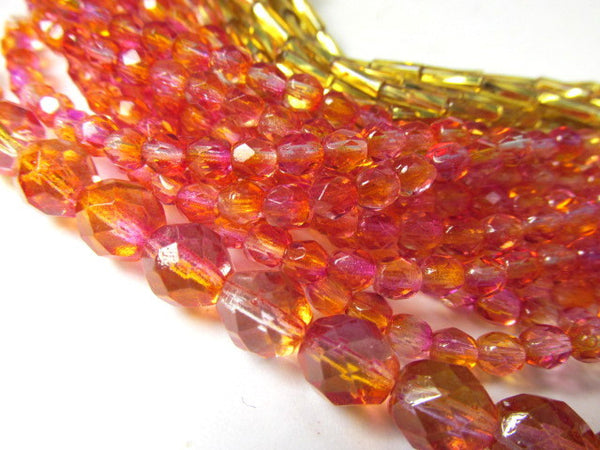 Fuchsia Cantaoupe Czech 6mm Fire Polished Beads (25)-Czech Glass-Odyssey Cache