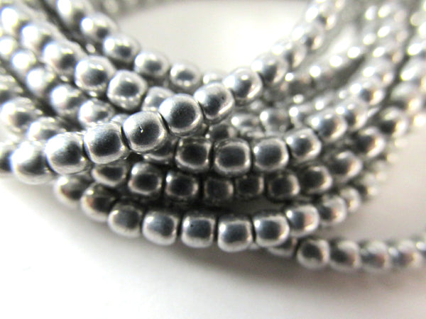 Antique Silver Gray Czech Glass 3mm Round Druk Jewelry Beads (50)-Czech Glass-Odyssey Cache