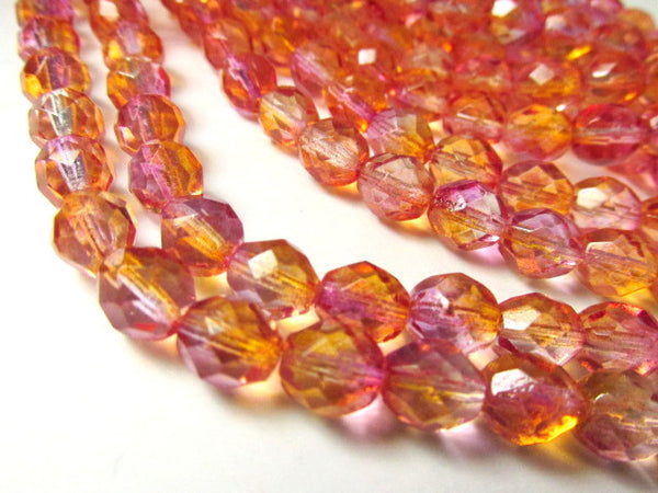 Fuchsia Cantaoupe Czech 6mm Fire Polished Beads (25) - Odyssey Cache - 1