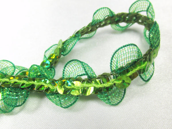 Wavy Irridized Mesh Single Sequined 1/2 inch Sequined Trim-Trims-Green-Odyssey Cache