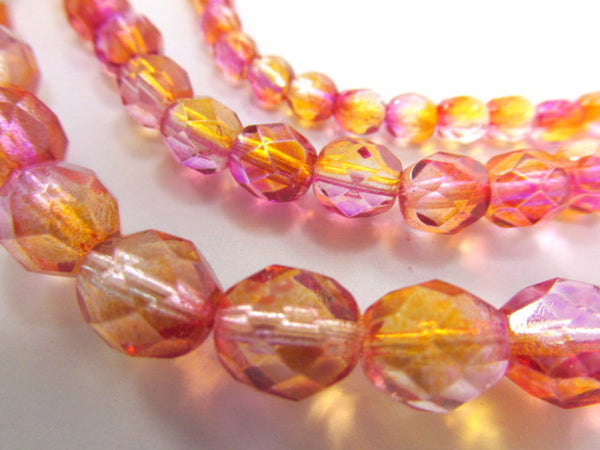 Fuchsia Cantaoupe Czech 8mm Fire Polished Beads (25)-Czech Glass-Odyssey Cache