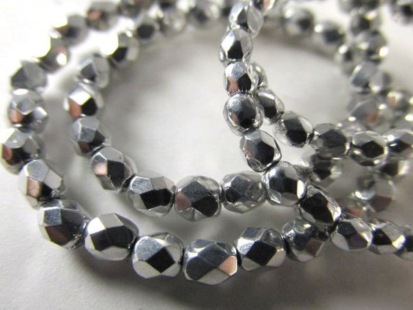 Silver Czech Glass 3mm or 4mm Fire Polished Faceted Jewelry Beads (50)-Jewelry Beads-Odyssey Cache