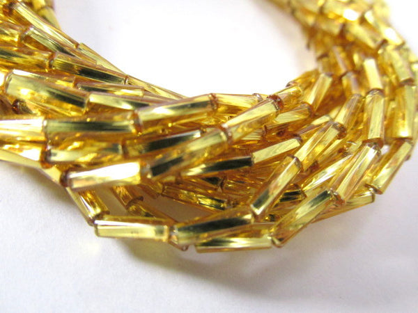 Silver Lined Gold 6mm x 2mm Czech Twisted Glass Bugle Beads - 8 grams-Jewelry Beads-Odyssey Cache