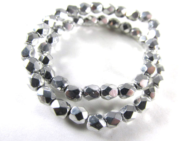 Silver Czech Glass 3mm or 4mm Fire Polished Faceted Jewelry Beads (50) - Odyssey Cache