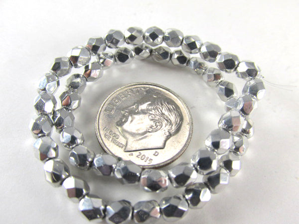 Silver Czech Glass 3mm or 4mm Fire Polished Faceted Jewelry Beads (50)-Jewelry Beads-4mm-Odyssey Cache