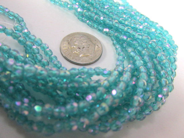 Luster Iris Teal 3mm Czech Glass Fire Polished Jewelry Beads (50)-Jewelry Beads-Odyssey Cache