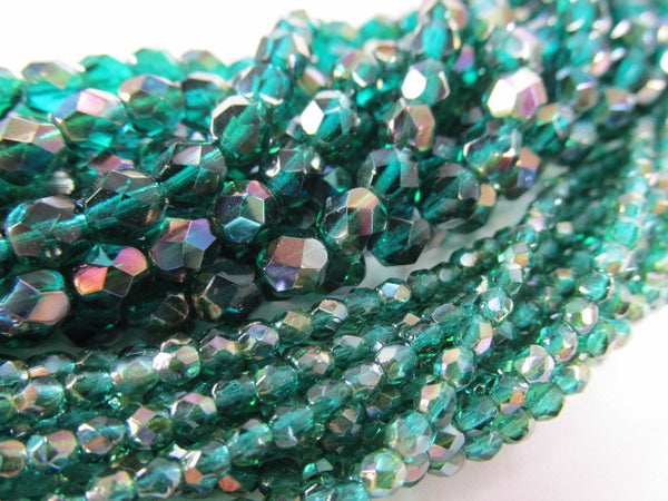 Viridean Celsian 3mm Czech Glass Fire Polished Jewelry Beads (50) - Odyssey Cache - 4