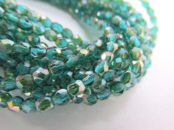 Viridean Celsian 3mm Czech Glass Fire Polished Jewelry Beads (50) - Odyssey Cache