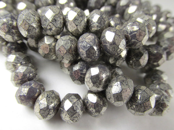 Purple Gray Mercury Finish 8mm x 6mm Czech Glass Rondelle Jewelry Beads-Jewelry Beads-Odyssey Cache