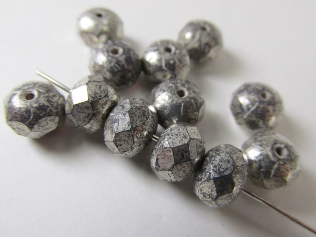 Purple Gray Mercury Finish 8mm x 6mm Czech Glass Rondelle Jewelry Beads - Odyssey Cache