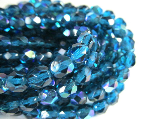Teal AB 6mm Czech Glass Fire Polished Jewelry Beads (25)-Jewelry Beads-Odyssey Cache