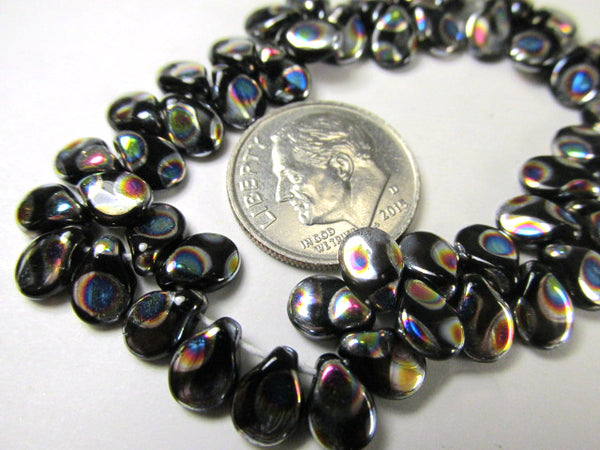 Black Peacock Rainbow Czech Glass 7mm x 5mm Pip Beads (40)-Jewelry Beads-Odyssey Cache