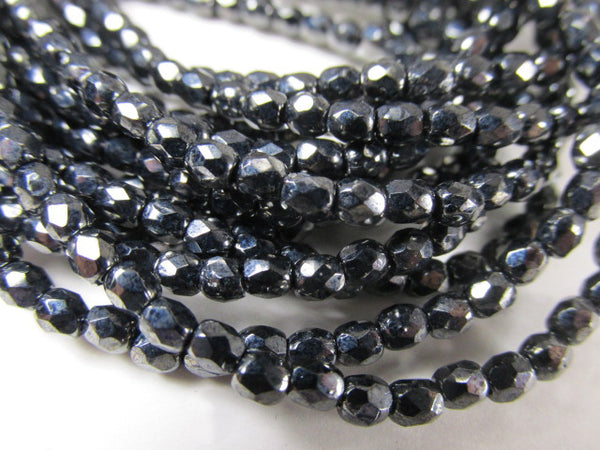 Black Hematite Czech Glass 3mm Fire Polished Jewelry Beads - Odyssey Cache