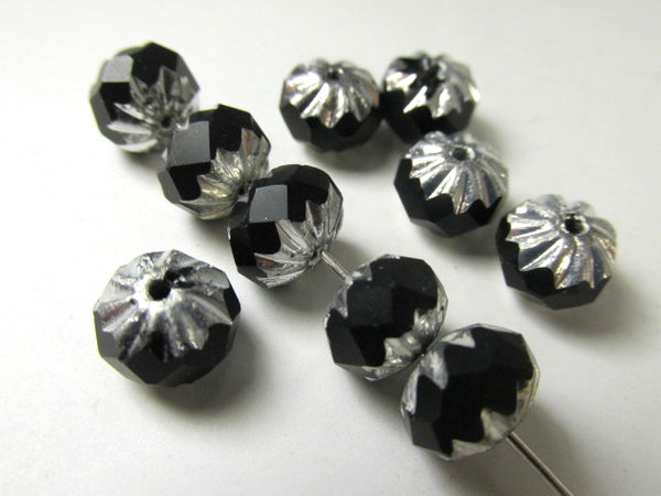 Black and Silver Czech Glass 9mm x 6mm Carved Cruller Jewelry Beads (8)-Jewelry Beads-Odyssey Cache