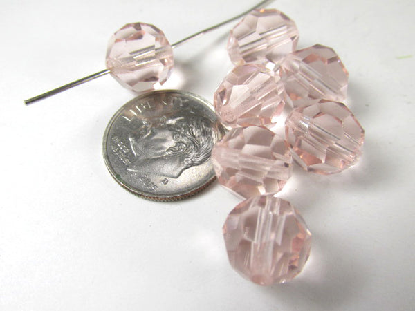 Light Pink Czech Preciosa Crystal 10mm Faceted Round Jewelry Beads (8 beads)-Jewelry Beads-Odyssey Cache