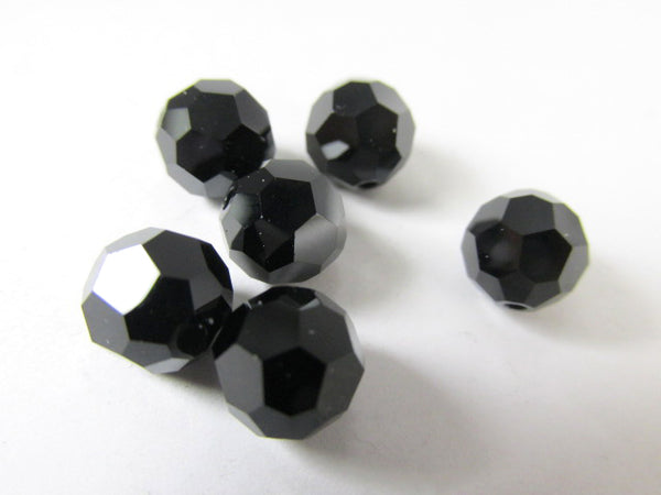 Swarovski Jet Black Art. 5000 8mm Faceted Round Crystals (8)-Jewelry Beads-Odyssey Cache