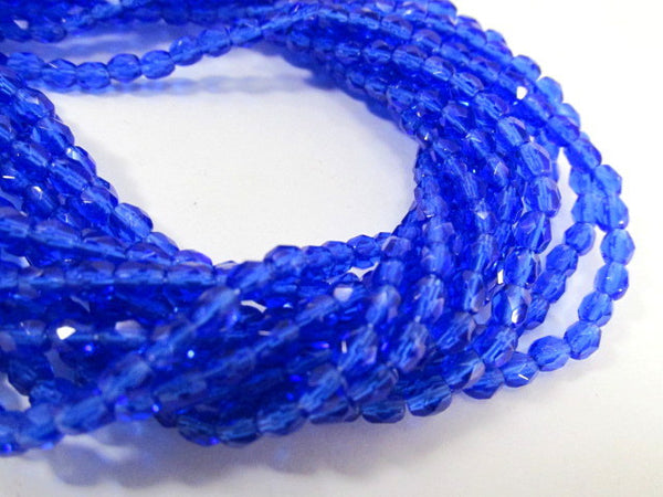 Cobalt Blue 4mm Czech Glass Fire Polished Jewelry Beads (50)-Jewelry Beads-Odyssey Cache