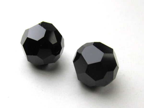 Swarovski Jet Black Art. 5000 10mm Faceted Round Crystals (4)-Jewelry Beads-Odyssey Cache