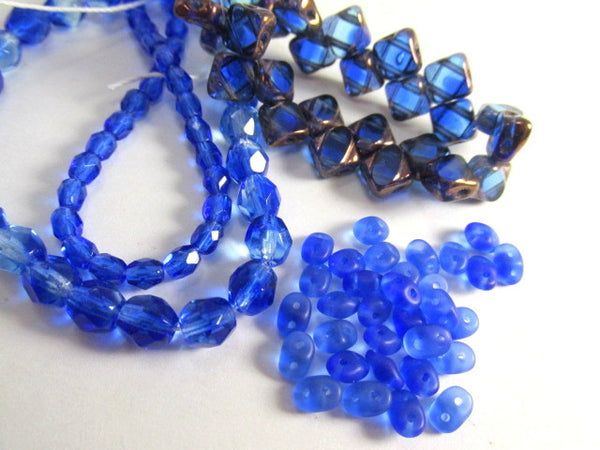 Sapphire Copper Czech glass 2-Hole CzechMate 6mm Silky Beads (25) - Odyssey Cache - 6