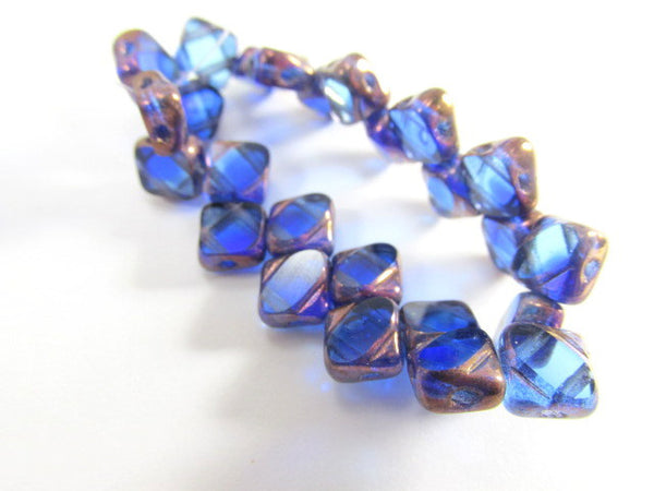 Sapphire Copper Czech glass 2-Hole CzechMate 6mm Silky Beads (25) - Odyssey Cache - 4