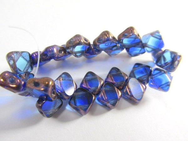 Sapphire Copper Czech glass 2-Hole CzechMate 6mm Silky Beads (25) - Odyssey Cache - 3