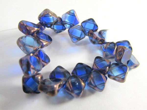 Sapphire Copper Czech glass 2-Hole CzechMate 6mm Silky Beads (25) - Odyssey Cache - 5