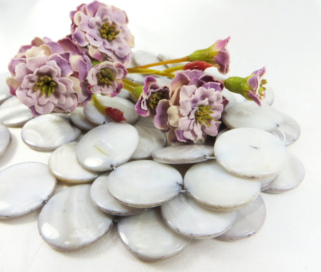Mother of Pearl 20mm Flat Coin Shell Jewelry Beads - Odyssey Cache