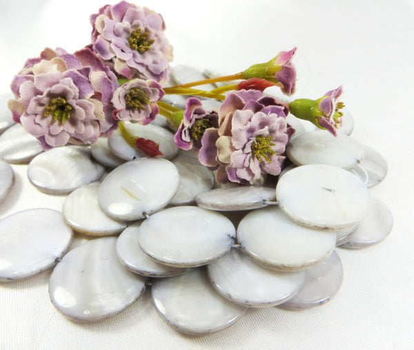 Mother of Pearl 20mm Flat Coin Shell Jewelry Beads-Jewelry Beads-Gray Lavender-Odyssey Cache