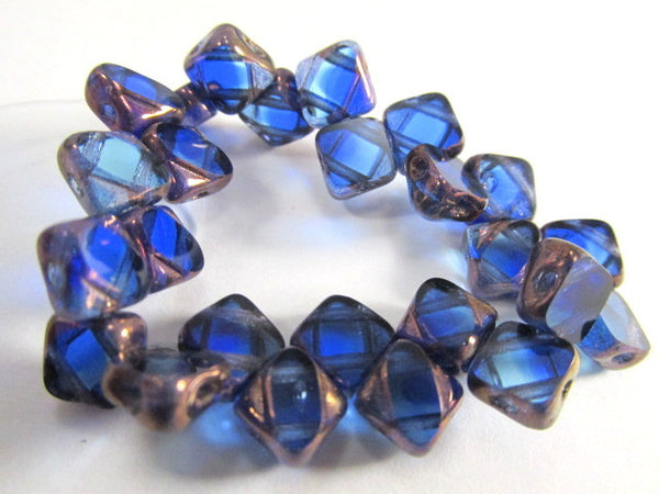 Sapphire Bronze Czech glass 2-Hole CzechMate 6mm Silky Beads (25)-Jewelry Beads-Odyssey Cache