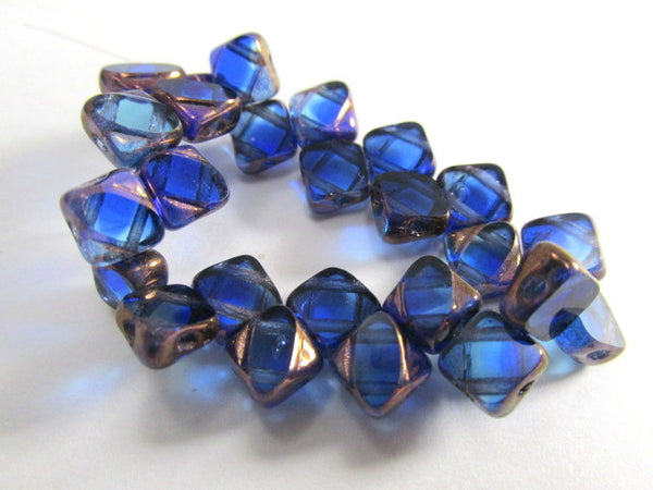 Sapphire Copper Czech glass 2-Hole CzechMate 6mm Silky Beads (25) - Odyssey Cache - 2