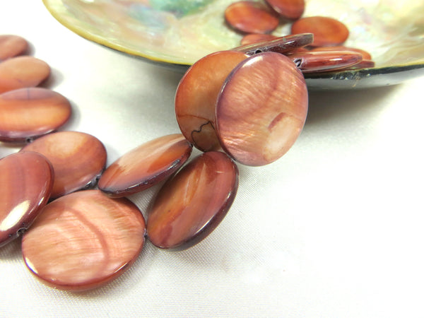Mother of Pearl 20mm Flat Coin Shell Jewelry Beads-Jewelry Beads-Canyon Mauve-Odyssey Cache