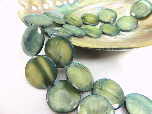 Mother of Pearl 20mm Flat Coin Shell Jewelry Beads-Jewelry Beads-Odyssey Cache