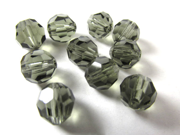 Black Diamond Swarovski #5000 8mm Faceted Rounds (8 beads)-Jewelry Beads-Odyssey Cache