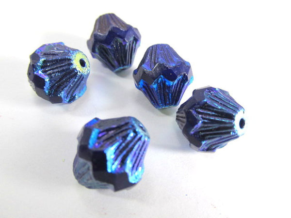 Cobalt Blue Purple Iris 13mm x 11mm Czech Baroque Bicones (5)-Jewelry Beads-5 beads-Odyssey Cache