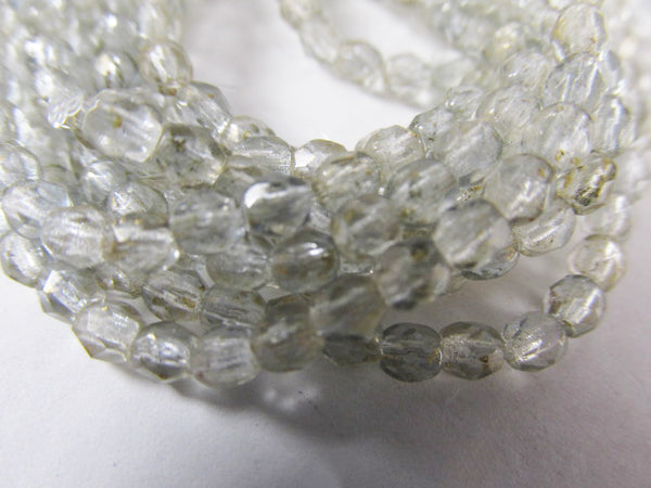 Gold Marbled Light Sapphire 3mm Czech Glass Light gray Fire Polished Beads (50)-Jewelry Beads-Odyssey Cache