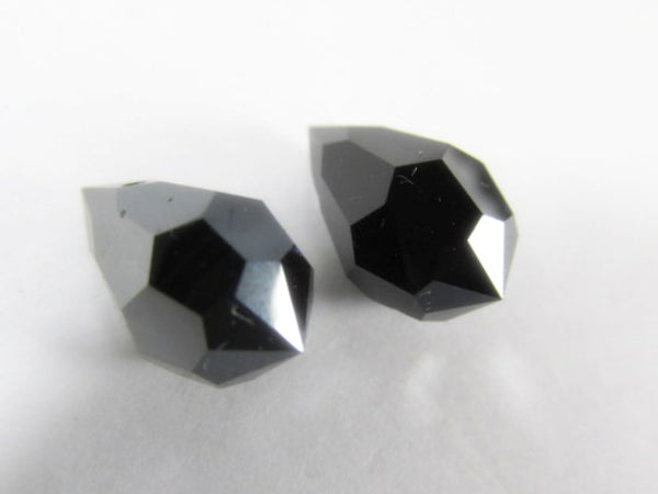 Hematite Jet Preciosa Czech Crystal 15mm x 9mm Faceted Teardrops (2)-Jewelry Beads-2 beads-Odyssey Cache