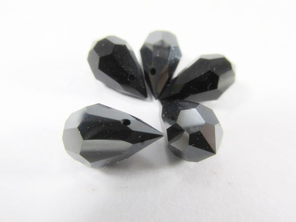 Hematite Jet Preciosa Czech Crystal 15mm x 9mm Faceted Teardrops (2)-Jewelry Beads-Odyssey Cache