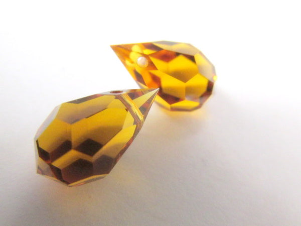 Topaz Czech Preciosa Crystal 20mm or 15mm Faceted Teardrop Briolettes-Jewelry Beads-15mm x 9mm (2 beads)-Odyssey Cache