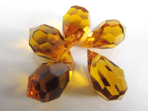 Topaz Czech Preciosa Crystal 20mm or 15mm Faceted Teardrop Briolettes - Odyssey Cache