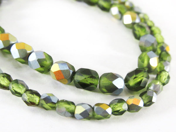 Green Peridot AB Matte Czech Glass 4mm Fire Polished Jewelry Beads (50 beads) - Odyssey Cache