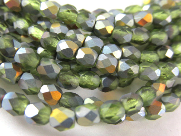 Green Peridot AB Matte Czech Glass 4mm Fire Polished Jewelry Beads (50 beads)-Jewelry Beads-Odyssey Cache
