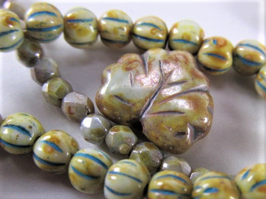 Olive Green Luster Czech Glass 13mm x 10mm Maple Leaf Jewelry Beads-Czech Glass-Odyssey Cache