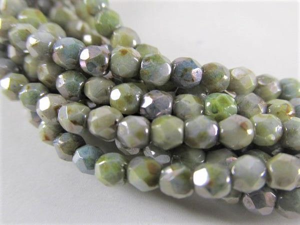 Luster Opaque Green 3mm Czech Glass Fire Polished Jewelry Beads (50)-Jewelry Beads-Odyssey Cache
