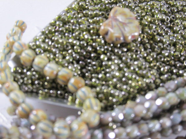 Green Tea Gold Lustered 11/0 Glass Toho Seed Beads (10 grams)-Jewelry Beads-Odyssey Cache