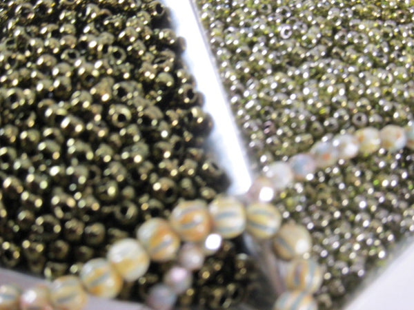 Gold Lustered Dark Chocolate Brown olive green 8/0 Czech Toho Seed Beads (10 grams) - Odyssey Cache