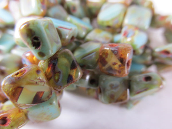 Turquoise Amber Picasso Czech glass 2-Hole 6mm Silky Jewelry Beads (25)-Jewelry Beads-Odyssey Cache