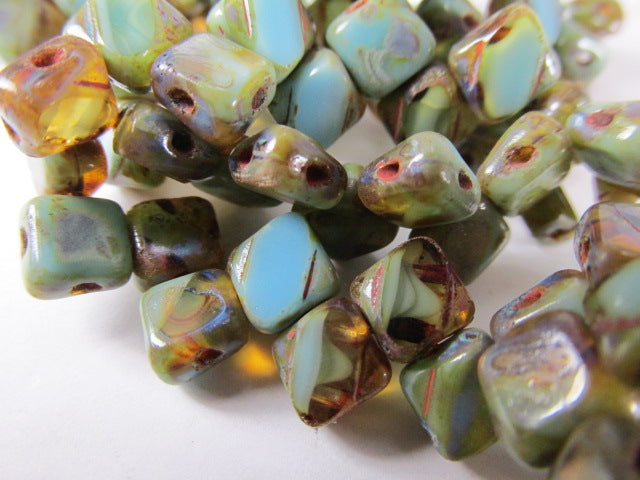 Turquoise Amber Picasso Czech glass 2-Hole 6mm Silky Jewelry Beads (25) - Odyssey Cache