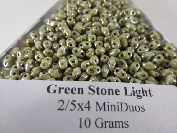 Green Stone Light Czech Glass 2.5 x 4mm Miniduos (10 grams) - Odyssey Cache