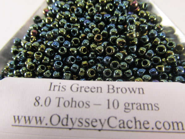 Iris Green Brown 8/0 Glass Toho Seed Beads (10 grams) - Odyssey Cache